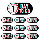 Timer number days to go countdown vector illustration template on white background. Vector