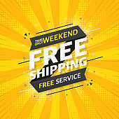 FREE SHIPPING flat banner on yellow pop background. This only weekend free service. Vector.