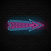 Neon glowing arrow pointer on dark brick background. Colorful and shining retro light sign. Vector