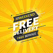 FREE DELIVERY flat banner on yellow pop background. This only weekend free service. Vector.