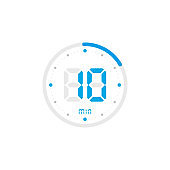 10 minute. Timer, clock, stopwatch isolated blue icons on white background. Vector
