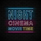 Night Cinema neon sign, bright signboard, light banner on black brick background. Vector