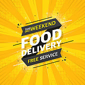 FOOD DELIVERY flat banner on yellow pop background. This only weekend free service. Vector.