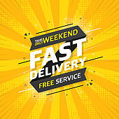 Fast service flat banner on yellow pop background. This only weekend free service. Vector.