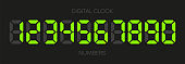 Digital clock numbers on white background. Set numbers. Vector