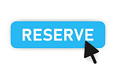 Button reserve of blue design and mouse on it. White background. Vector illustration.