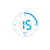 15 minute. Timer, clock, stopwatch isolated blue icons on white background. Vector