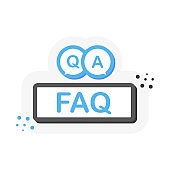 Question mark button or banner in flat 3D style. Discussion speech bubble pictogram. Vector.
