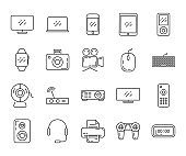 Technology gray icon set isolated on white background. Outline style. Vector illustration.