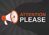 Megaphone ATTENTION PLEASE with blue objects on gray pop background. Vector