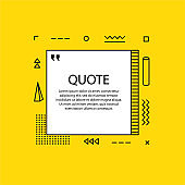 Hand drawn Speech Bubble. Geometric design. Space for quote and text. Yellow background. Vector