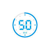50 minute. Timer, clock, stopwatch isolated blue icons on white background. Vector