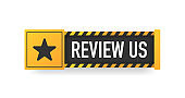 REVIEW US yellow sign. Striped frame. Banner isolated on white background. Vector.