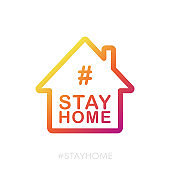 Stay at home buttons sign. Heart and house pictogram for #stayhome social media campaign on white background. Vector