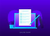 Education online exam teacher learning vector illustration on the dark background.