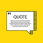 Hand drawn Speech Bubble. Message object. Geometric design. Space for quote and text. Yellow background. Vector