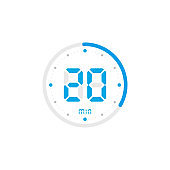 20 minute. Timer, clock, stopwatch isolated blue icons on white background. Vector
