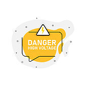 Yellow abstraction isolated sticker danger high voltage. Vector illustration.