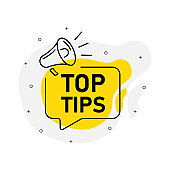 Top tips of marketing design badge with loudspeaker yellow color. Vector illustration on white background.