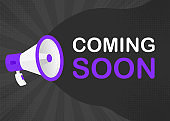 Megaphone COMING SOON with yellow objects on gray pop background. Vector