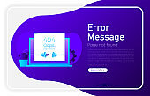 Error message concept on dark gradient browser window. Laptop with envelope, open window with 404 error and page not found on screen. Vector.