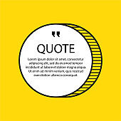Hand drawn Speech Bubble. Circle object. Geometric design. Space for quote and text. Yellow background. Vector