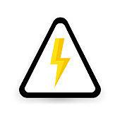 Danger sign high voltage on white background. Vector illustration.