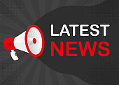 Megaphone LATEST NEWS with red objects on gray pop background. Vector