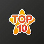 Top ten colorful star in 3D style on gradient gray background. Vector.