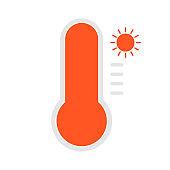 Orange thermometer icon on white background. Hot. Vector illustration.