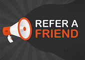 Megaphone REFER A FRIEND with orange objects on gray pop background. Vector
