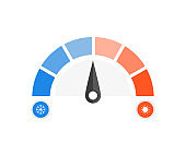 Speedometer cold and hot icon. Vector illustration.