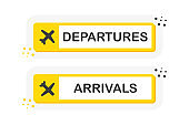 Information panel on the direction of arrivals and departures at airports. Yellow banners of flat style isolated on white background. Vector.