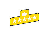 Five stars banner product rating review flat icon for apps and websites on white background. White stars on yellow button. Vector