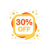 Sale mini discount icons. Special Offer Price signs of yellow and orange colors. 30 percent OFF reduction symbols. Speech bubble or chat symbol on white background. Vector illustration.