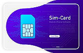 Mobile phone network logo sim card on browser window and gradient abstract background. Vector