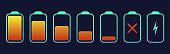 Battery symbol collection different level of charge. Battery charge signs. Vector
