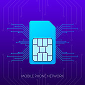 Mobile phone network logo sim card on gradient abstract background. Vector