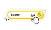 Search yellow 3D button with hand pointer clicking. White background. Vector