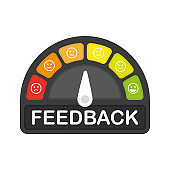 FEEDBACK icon on speedometer on white background. High risk meter. Vector.
