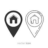 Two gray home pointer icons on white background. Vector illustration.