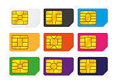 Realistic global big collection phone sim card with different EMV chips and different colors. Nfc chip for credit card security isolated on white background. Vector.
