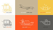 Vector fast delivery service logo design elements in linear style. Set of flat trucks, airplane and ship in boxes of different colors. Vector.