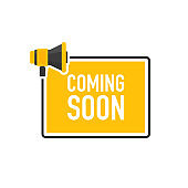 Megaphone geometric yellow banner with coming soon speech bubble. Flat style. Vector.