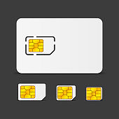Realistic global phone sim card with different EMV chips. Nfc chip for credit card security isolated on white background. Vector.