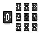 Mechanical number black scoreboard set isolated on white background. Vector.