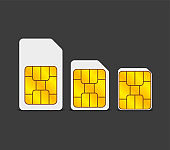 Two realistic global collection phone sim card with EMV chips. Nfc chip for credit card security isolated on gray background. Vector.