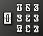 Mechanical number white scoreboard set isolated on black background. Vector.