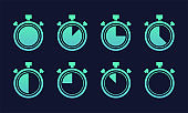 Stopwatch big icons set. Timer symbols on dark blue background. Different time. Vector