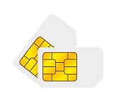 Two realistic global collection phone sim card with EMV chips. Nfc chip for credit card security isolated on white background. Vector.